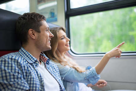 Young couple in the train