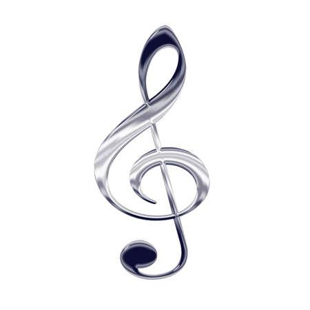 Music treble clef silver metal icon