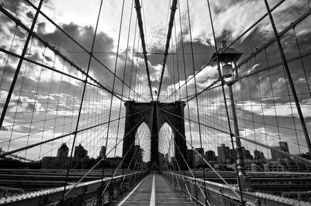Brooklyn bridge, black and white, New York, USA