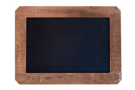 Vintage blank blackboard with wooden frame isolated on white background