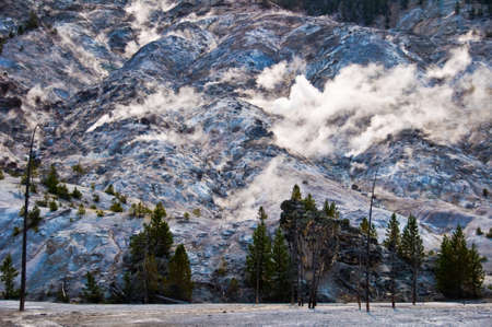 Roaring mountain in Yellowstone national park, USA