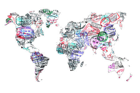 Foto de World map created with passport stamps, travel concept - Imagen libre de derechos