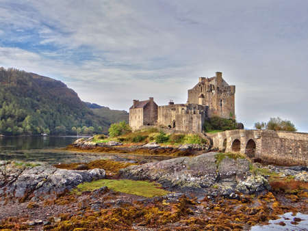 Eilean Donan castle in the Kintail district of Scotland. This iconic castle is one of the most popular visitor attractions in Scotland