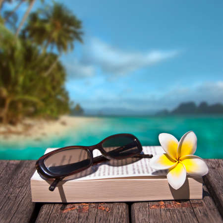Book and sunglasses, tropical beach background