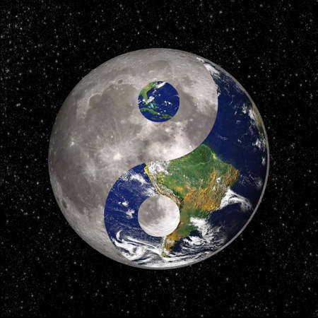 Yin Yang and tao symbol with earth and moon, elements of this image are provided by NASA