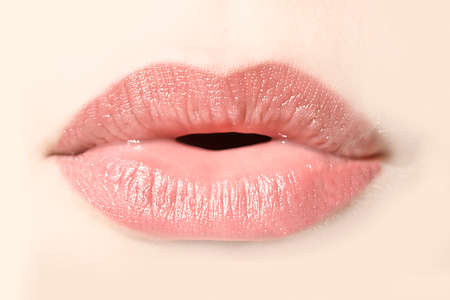 Girl natural lips close up