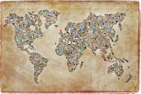 Foto de Photos collage in the shape of a world map, vintage background - Imagen libre de derechos
