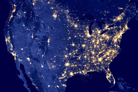 Photo pour America by night - Elements of this image are furnished by NASA - image libre de droit