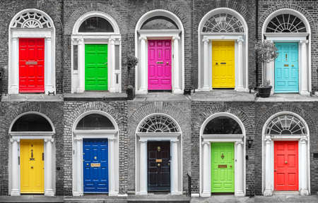 Photo pour Colorful collection of doors in Dublin, Ireland - image libre de droit