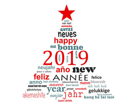 Photo for 2019 new year multilingual text word cloud greeting card in the shape of a christmas tree - Royalty Free Image
