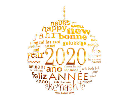 Photo for 2020 new year white and gold multilingual text word cloud greeting card in the shape of a christmas ball - Royalty Free Image