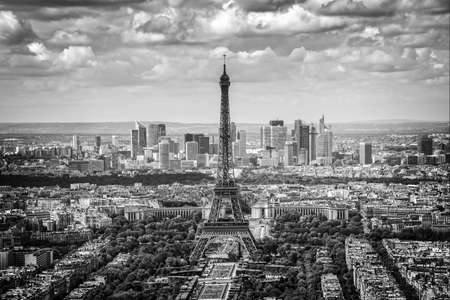 Photo for Aerial scenic view of Paris with the Eiffel tower and la Defense business district skyline, black and white - Royalty Free Image
