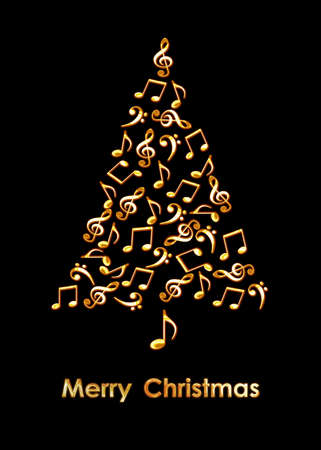 Photo pour Christmas tree made of golden musical notes on black background. Merry Christmas music greeting card - image libre de droit