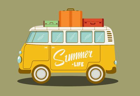 Illustration pour Vector illustration of a retro bus. Vector Illustration. - image libre de droit