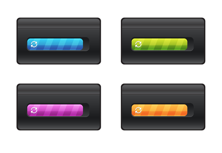 Progress bar and loading different colors on black background vector file.