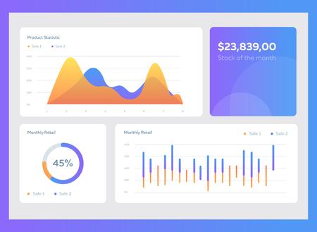 Illustration pour Infographic dashboard template with flat design graphs and charts. Information Graphics elements - image libre de droit