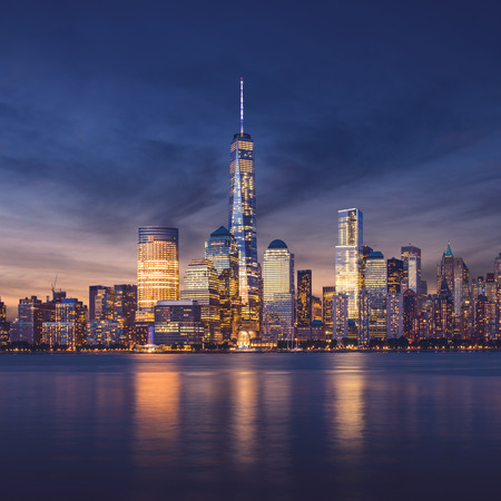 Photo for New York City - Manhattan after sunset - beautiful cityscape - Royalty Free Image