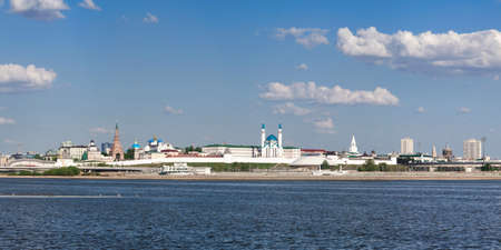 Panoramic view of the Kremlin and the central part of Kazan, Russia.