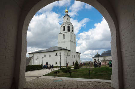 White stone bell tower in the arch of the assumption monastery, Sviyazhsk, Russia.