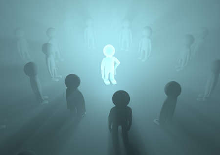 render of a crowd with one glowing in the middle, symbolizing importance