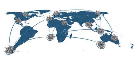 Foto de render of a global city network - Imagen libre de derechos