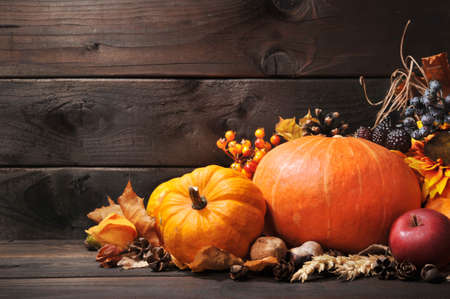 Thanksgiving different pumpkins with nuts berries and grain in front of wooden board