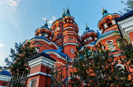Our Lady of Kazan Church, Irkutsk at sunrise  Exterior of building  Russian Orthodox church built in 1885-1892