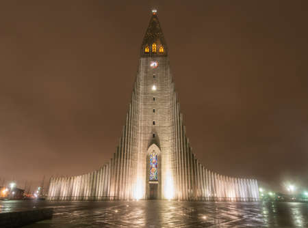 Hallgrimskirkja Cathedral in Reykjavik, Iceland at night   The Lutheran  Church of Iceland  parish church in Reykjavik, Iceland  At 73 metres  244 ft , it is the largest church in Iceland