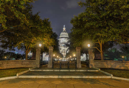 The Texas State Capitol Building in downtown Austin at Night. Built in 1882-1888 of distinctive sunset red granite.