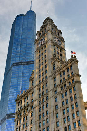 Chicago, Illinois - September 5, 2015: The Trump International Hotel & Tower and Wrigley Building in Chicago. The Trump Tower was completed in 2008.