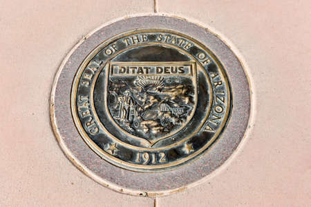 Arizona state seal at the Four Corners Monument.