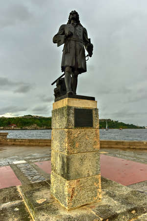 Monument to Pierre Le Moyne d'Iberville in Havana, Cuba who was a soldier, ship captain, explorer, colonial administrator, knight of the order of Saint-Louis, adventurer, privateer, trader.