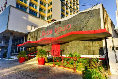 Havana, Cuba - Jan 15, 2017: Salon Rojo (Red Room) live music venue next to the Hotel Capri in the Vedado neighborhood of Havana, Cuba.