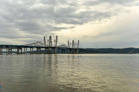 The new Tappan Zee bridge under construction across the Hudson River in New York.