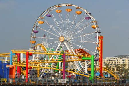 Photo for Los Angeles, California - May 15, 2007: Ferris wheel on Santa Monica Pier by Santa Monica Beach in Los Angeles, California, USA. - Royalty Free Image
