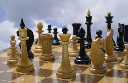 Chess competition. Chess pieces on a chess board