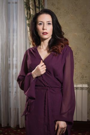 Foto de Sexual emotional attractive woman  in erotic lace underwear posing in  a boudoir  - Imagen libre de derechos
