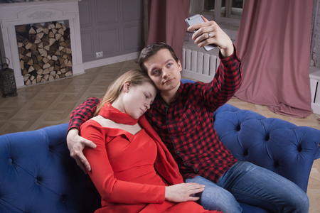 Photo for Procedural drama. Killer makes selfi with the victim's corpse - Royalty Free Image