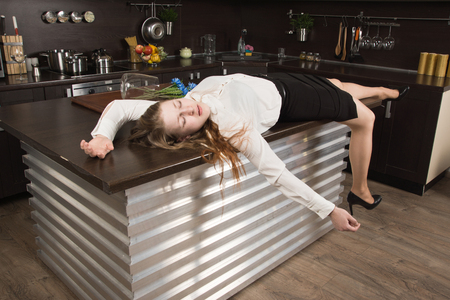 Photo for Crime scene with strangled  business woman (imitation) - Royalty Free Image