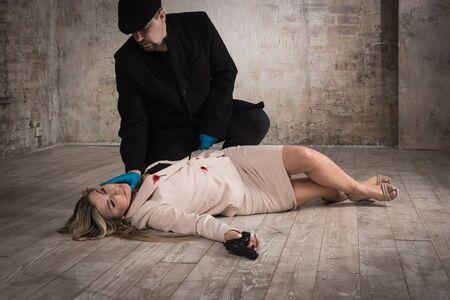 Photo for Film noir. Detective investigating the crime scene - Royalty Free Image