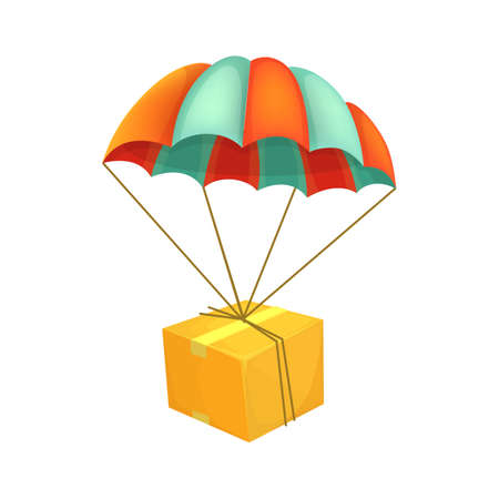 Package flying on parachute  Air shipping  Box vector icon