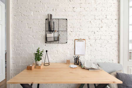Office table with supplies interior with a freelancer job copy space