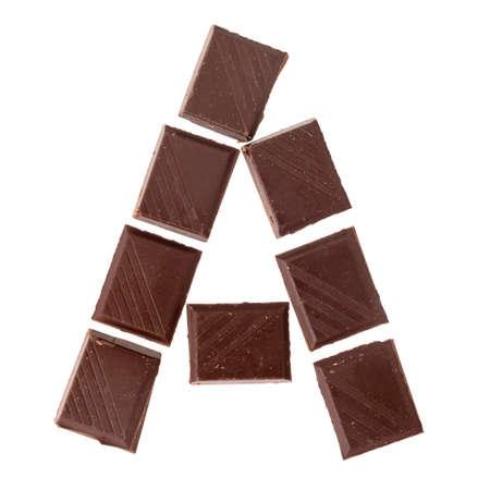Foto de A- Isolate chocolate letter, alphabet on white background - Imagen libre de derechos