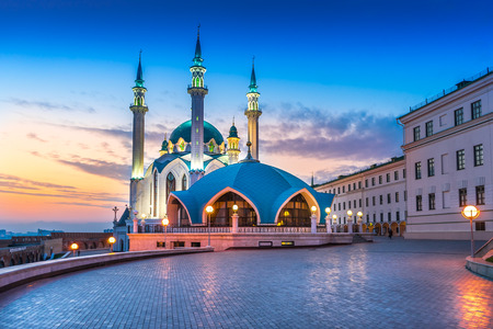 The Kul Sharif mosque in Kazan Kremlin at sunset. View from the Manezh building