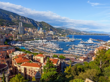 Photo for A view of Port Hercule and its surrounding area in Monaco. - Royalty Free Image