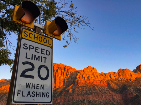 Photo for School speed limit. - Royalty Free Image