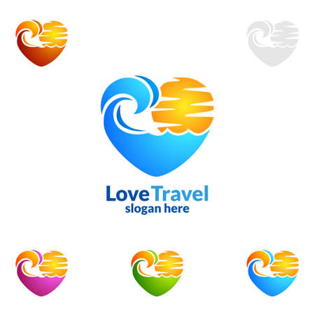 Ilustración de Abstract Travel and Tourism Logo with Love, Sea,and Beach shape in stylish Colors of Hotel and vacation   Isolated on white background vector illustration - Imagen libre de derechos