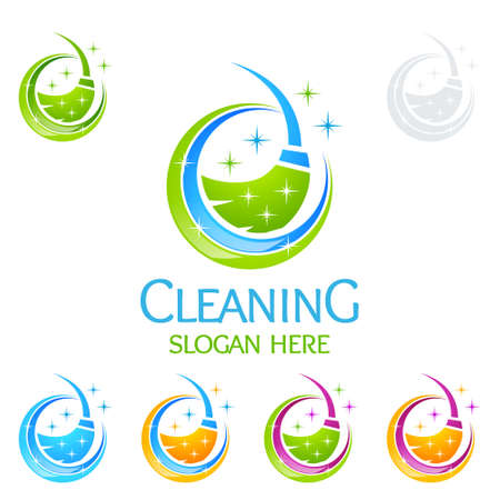Illustration pour Cleaning Service Vector Logo Design, Eco Friendly with shiny glass brush and Circle Concept isolated on white Background - image libre de droit