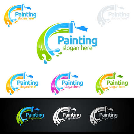 Illustration for painting business logos - Royalty Free Image