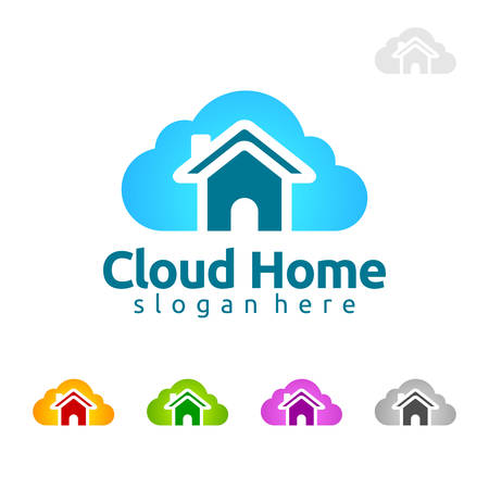 Cloud Home concept, Cloud Home vector Design with home and cloud, represented hosting, internet or Data.